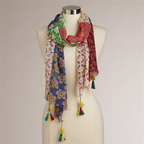 Patchwork Scarf - multicolored patchwork scarf world market