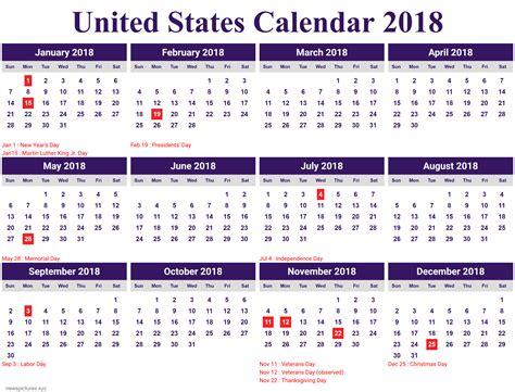 printable calendar 2018 united states calendar for year 2018 united states printable