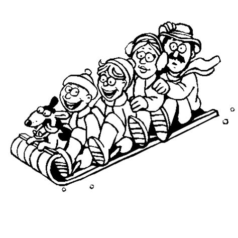 sledding coloring book page family toboggan coloring page