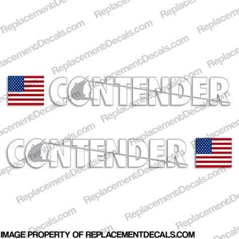 contender boat logo contender boat logo decal w flag set of 2 white silver