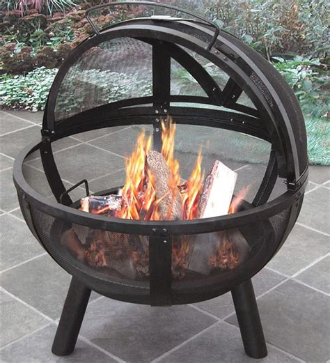 outside firepits of outdoor pit with protective cover