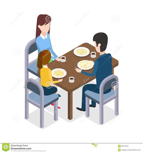 the family table restaurant at restaurant family sitting at dining table stock vector