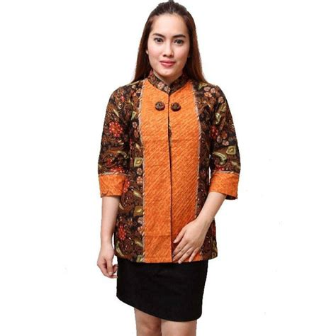 Blouse Baju Atasan Atasan Wanita Blus 15 15 model baju batik atasan kombinasi kain polos terbaru