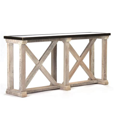 Zinc Console Table Valerya Zinc Top Chunky Rustic Solid Wood Console Table Kathy Kuo Home