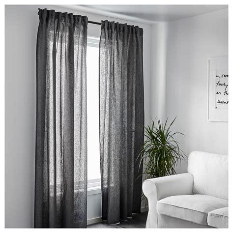 Ikea Linen Curtains Aina Curtains 1 Pair Grey 145x250 Cm Ikea