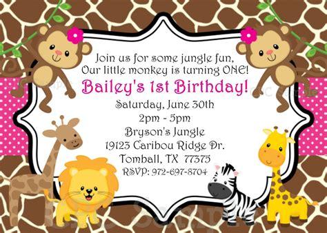 free printable birthday invitations jungle theme safari themed first birthday invitation wording birthday