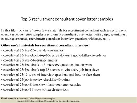 recruitment consultant cover letter exle top 5 recruitment consultant cover letter sles