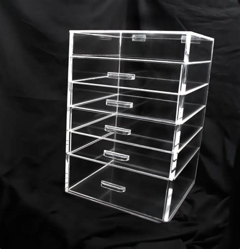 clear acrylic makeup organizer cube with 7 drawers clear acrylic makeup organizer 5 6 or 7 drawer by