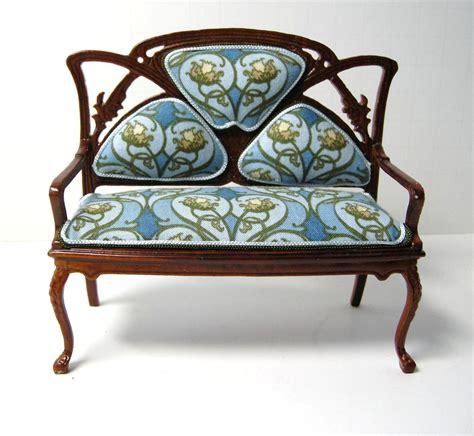 art nouveau sofa dollhouse miniature custom furniture art nouveau sofa