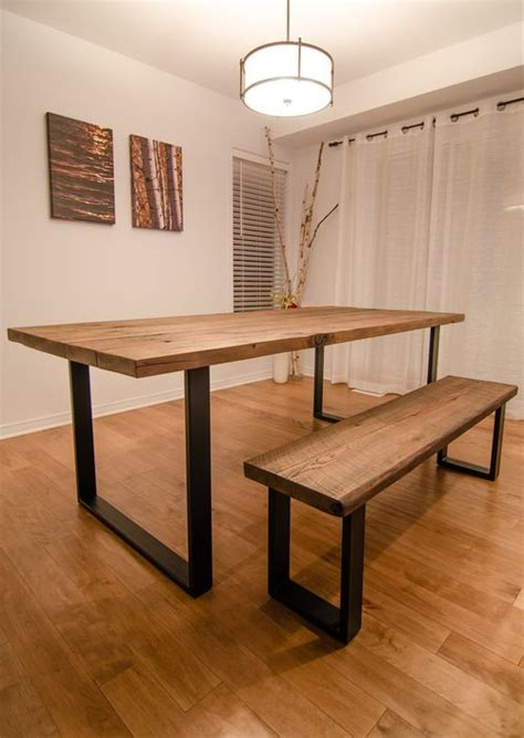 wooden dining table with bench reclaimed wood steel u shape table and bench