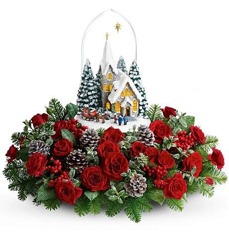 thomas kinkade starry night holiday centerpiece flower