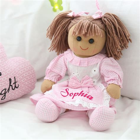 rag dolls personalised gingham rag doll my 1st years