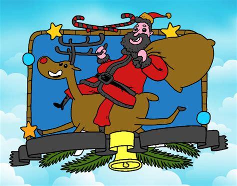 imagenes del reno de santa claus dibujo de santa claus y reno de navidad pintado por en