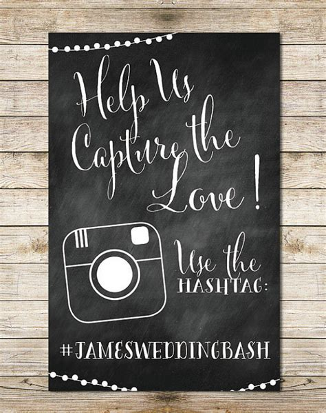 Wedding Hashtag Sign by Chalkboard Instagram 11x17 Wedding Sign Paper Goods