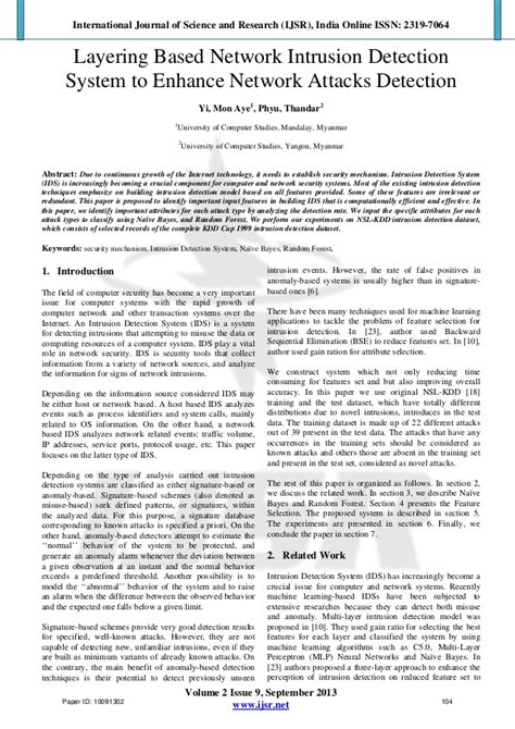 intrusion detection system research paper network intrusion detection system research papers
