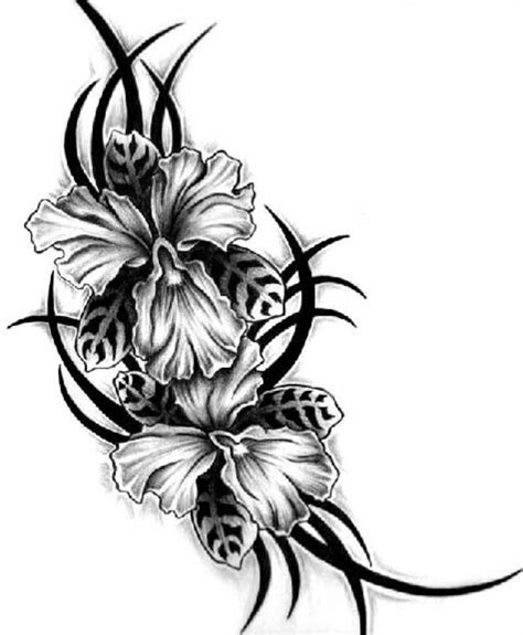 flower border tattoo black and white flower tattoo designs cliparts co