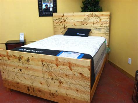 Hand Made Custom Wood Burned Bed Frame by Custom Glass