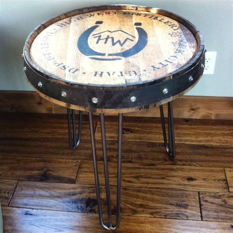 whiskey barrel side table high whiskey barrel table the spotted door