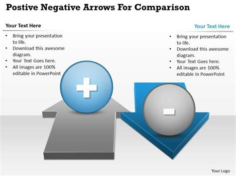 0414 Business Consulting Diagram Postive Negative Arrows For Comparison Powerpoint Slide Consulting Slide Templates