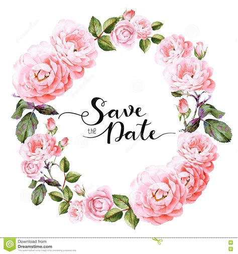 template for flower arrangement card save the date invitation template stock illustration