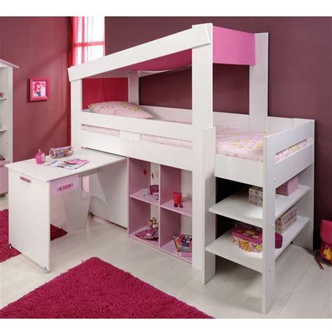 lit avec bureau pour fille chambre fille mezzanine apres mezzanine coloree sur