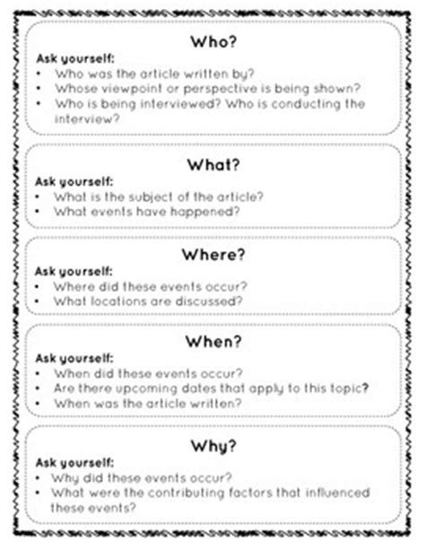 The 5W's of a Newspaper Article: Student Activity, Handout