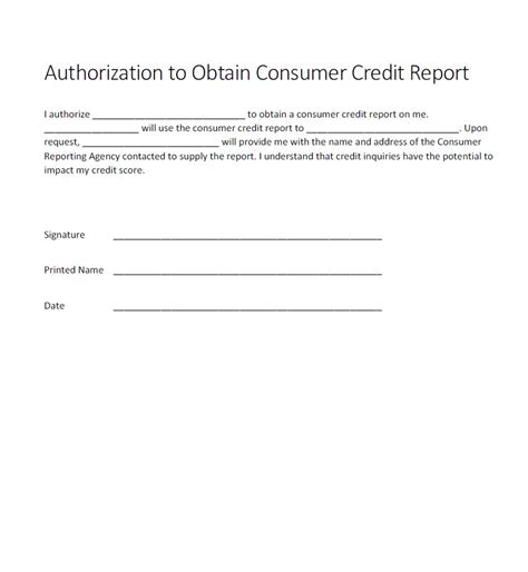 Credit Check Consent Form Template Authorization For Credit Check Form Generic Free Authorization Forms