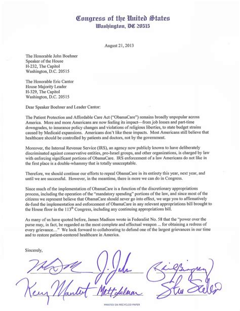 Petition Gop Letter Mal Contends Tea Letter Indicts Gop On Shutdown