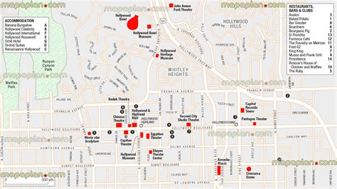 map of los angeles hotels los angeles top attractions map