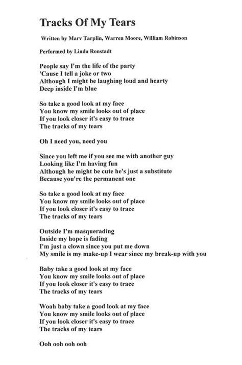 my lyrics ronstadt lyrics for quot tracks of my tears quot written by marv tarplin