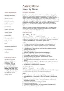 Resume Sample Security Guard by Security Guard Cv Sample