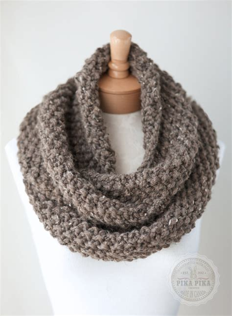 knitting infinity scarves knit infinity scarf chunky knit scarf in taupe by