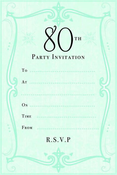 free 80th birthday card template 10 sle images 80th birthday invitations