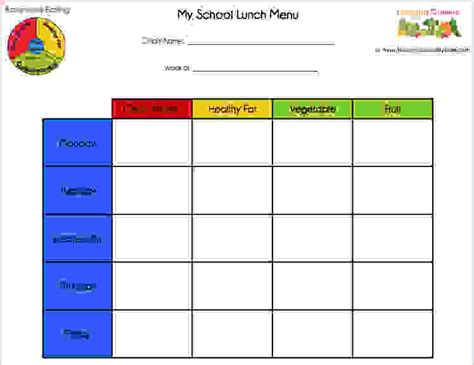 6 School Lunch Menu Template Procedure Template Sle Free Printable Lunch Menu Template