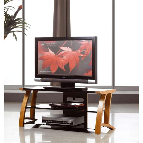 Flat Screen Tv Shelf by Oak Tv Stand Black Glass Shelves Flat Screen 32 42 Ebay