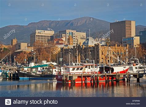 fishing boats docked in the hobart harbour tasmania - Boats Hobart