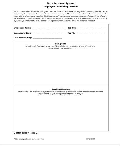 employee coaching form template 29 images of employee counseling template infovia net
