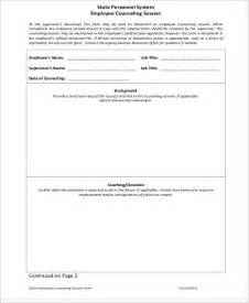 coaching session template sle employee counseling form 9 exles in word pdf