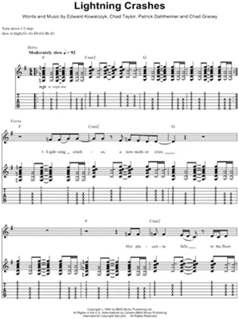 Lighting Crashes Chords by Live Quot Lightning Crashes Quot Guitar Tab Print