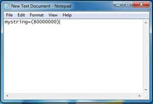 Computer Desktop Notepad Open Text Document And Write Quot Mystring 80000000 Quot Into