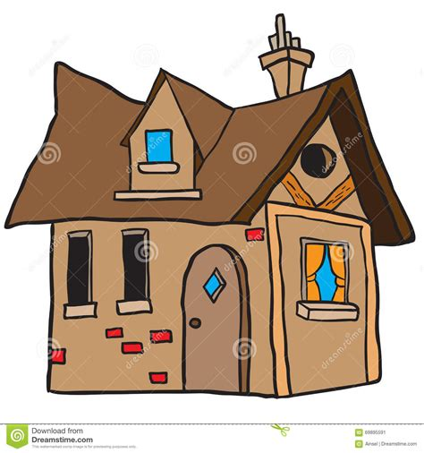 tiny house cartoon cute little house stock vector image 69895591