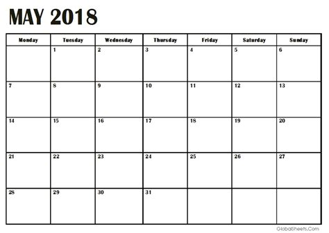 printable calendar templates 2018 may 2018 calendar template printable