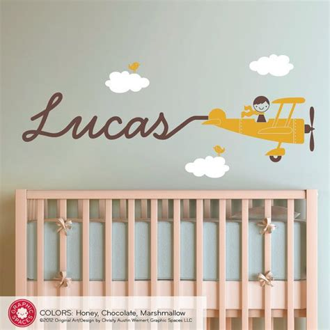 Airplane Nursery Wall Art Decal Boy Skywriter Baby Nursery Wall Decals Nursery Boy