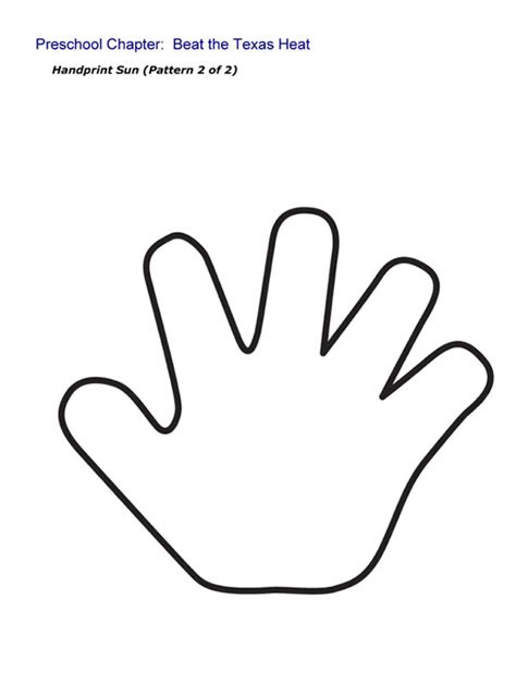 colorable hand prints free clip art