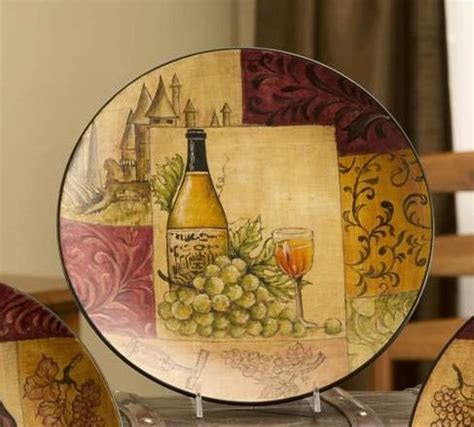 Wine Decorative Plates by New Wine Decorative Plate Gold Green Tuscan Wall Decor