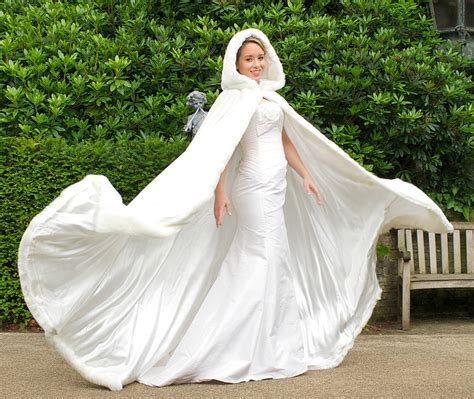 hooded bridal cape faux fur hood   Weddings Eve