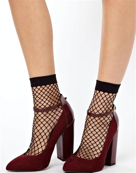 Asos Oversized Fishnet Socks asos oversized fish net ankle socks in black lyst