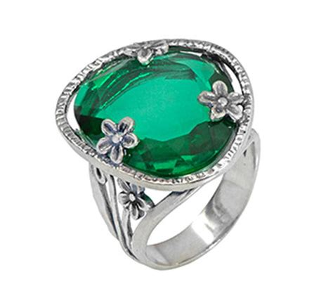sterling simulated emerald ring by or paz page 1 qvc