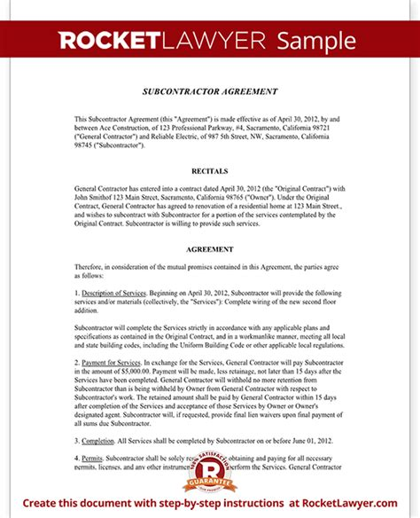 Subcontractor Agreement Contract Form Rocket Lawyer Subcontractor Agreement Template Free