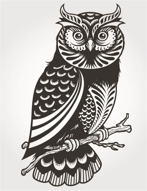tattoo owl vector exquisite owl silhouette vector graphics my free